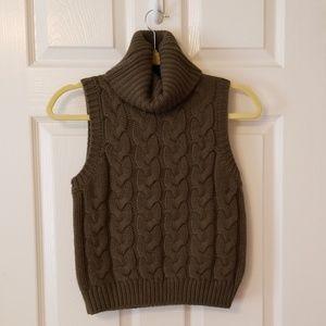 NWOT Green Sleeveless Cableknit Sweater